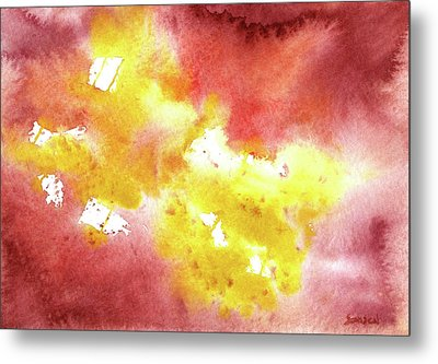 Abstract Yellow Connectors Metal Print by Sean Seal