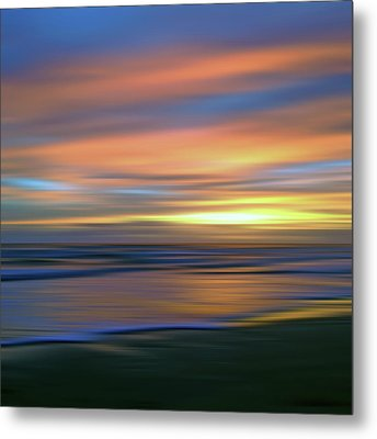 Abstract Sunset Illusions - Blue And Gold Metal Print by Joann Vitali