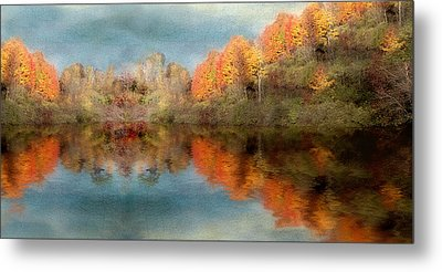 Accross The Lake In Autumn Metal Print by Tom Mc Nemar