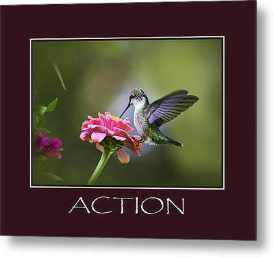 Action Inspirational Motivational Poster Art Metal Print by Christina Rollo