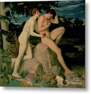 Adam And Eve  Metal Print by William Strang