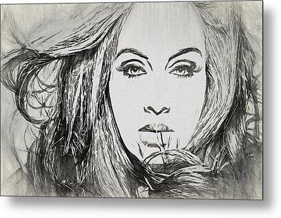 Adele Charcoal Sketch Metal Print by Dan Sproul