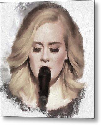Adele Portrait Hello Metal Print by Yury Malkov