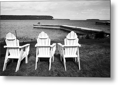 Adirondack Chairs And Water View At Ephriam Metal Print by Stephen Mack