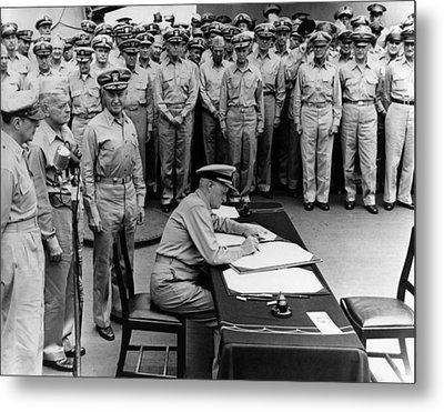Admiral Nimitz Signing The Japanese Surrender  Metal Print by War Is Hell Store