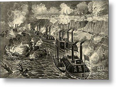 Admiral Porter's Fleet Running The Rebel Blockade Of The Mississippi At Vicksburg Metal Print by American School