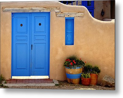 Adobe Walls With Blue Doors Ranchos De Taos New Mexico Metal Print by George Oze