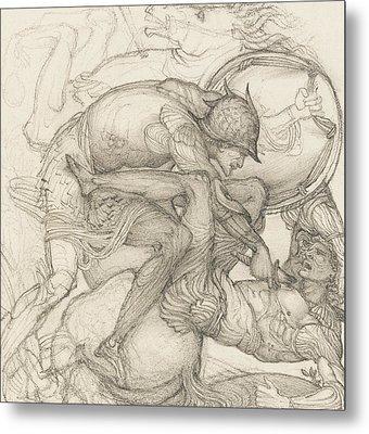 Aeneas Slaying Mezentius Metal Print by Sir Edward Coley Burne-Jones