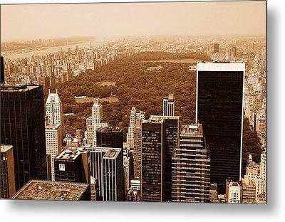 Aerial View Central Park Metal Print by Allan Einhorn