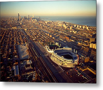 Aerial View Of A City, Old Comiskey Metal Print by Panoramic Images