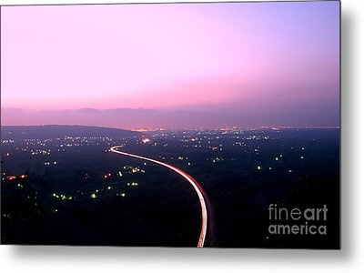 Aerial View Of Highway At Dusk Metal Print by Yali Shi