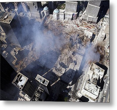 Aerial View Of The Destruction Where Metal Print by Stocktrek Images