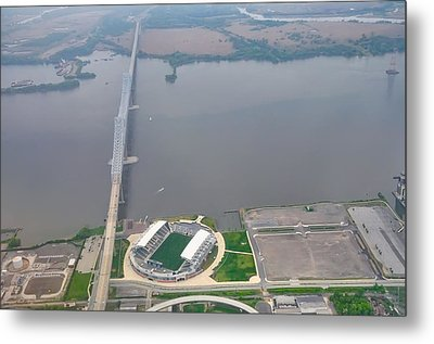 Aerial View Of The Talen Energy Stadium And The Commodore Barry  Metal Print by Bill Cannon