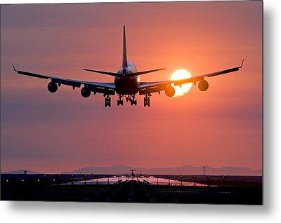 Aeroplane Landing At Sunset, Canada Metal Print by David Nunuk