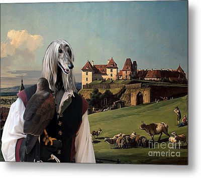 Afghan Hound-falconer And Castle Canvas Fine Art Print Metal Print by Sandra Sij