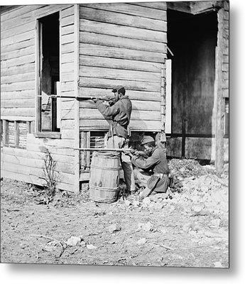 African American Soldiers Aim Metal Print by Everett
