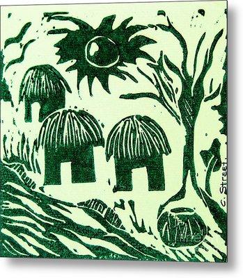 African Huts Metal Print by Caroline Street