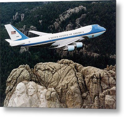 Air Force One Flying Over Mount Rushmore Metal Print by War Is Hell Store