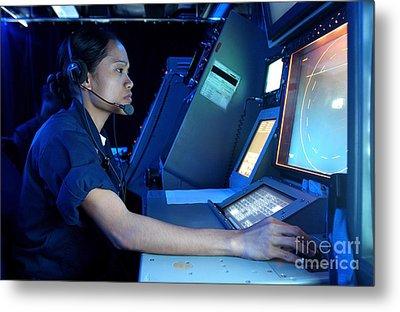 Air Traffic Controller Monitors Marine Metal Print by Stocktrek Images