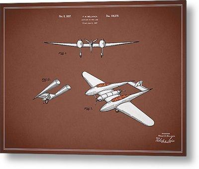 Airplane Patent 1937 Metal Print by Mark Rogan
