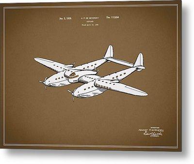 Airplane Patent 1939 Metal Print by Mark Rogan