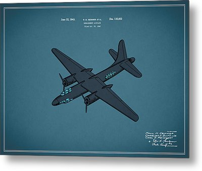 Airplane Patent 1943 Metal Print by Mark Rogan