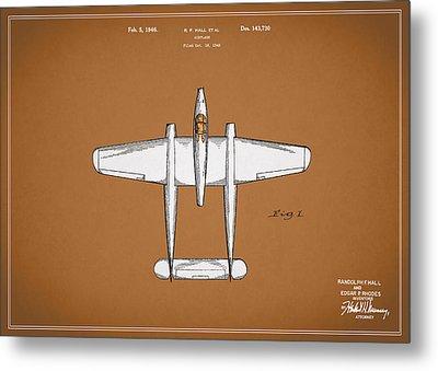 Airplane Patent 1946 Metal Print by Mark Rogan