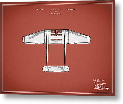Airplane Patent From 1946 Metal Print by Mark Rogan