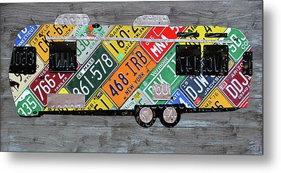Airstream Camper Trailer Recycled Vintage Road Trip License Plate Art Metal Print by Design Turnpike