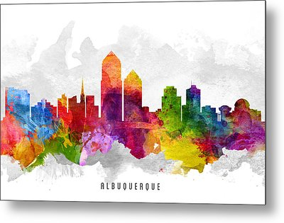Albuquerque New Mexico Cityscape 13 Metal Print by Aged Pixel