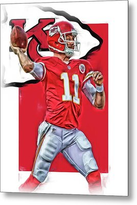 Alex Smith Kansas City Chiefs Oil Art Metal Print by Joe Hamilton