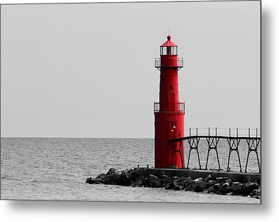 Algoma Lighthouse Bwc Metal Print by Mark J Seefeldt