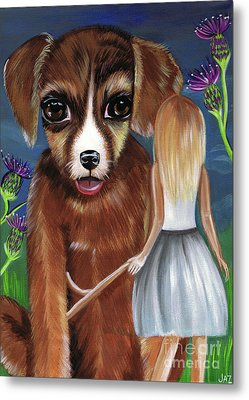 Alice And The Puppy Metal Print by Jaz Higgins