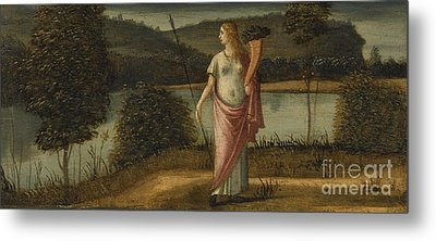 Allegorical Figure Of A Woman In A Landscape Holding A Spear And A Cornucopia Metal Print by Celestial Images