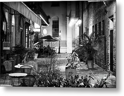 Alley Dining Metal Print by John Rizzuto