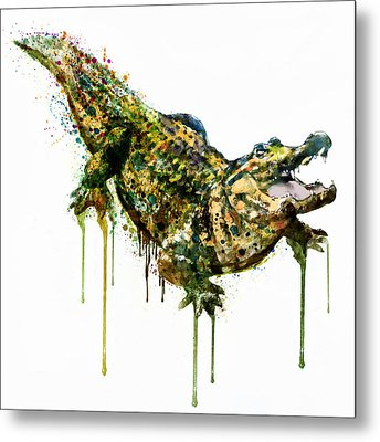 Alligator Watercolor Painting Metal Print by Marian Voicu