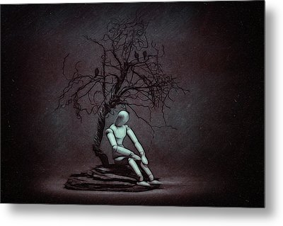 Alone In The Dark Metal Print by Tom Mc Nemar