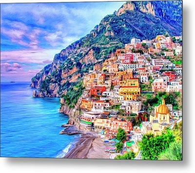 Amalfi Coast At Positano Metal Print by Dominic Piperata