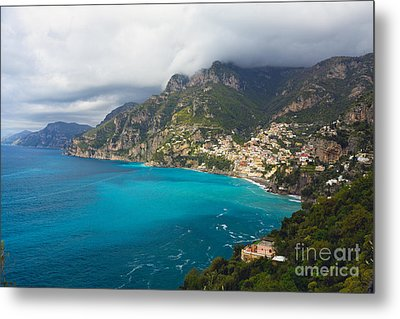Amalfi Coast Scenic Vista At Positano Metal Print by George Oze