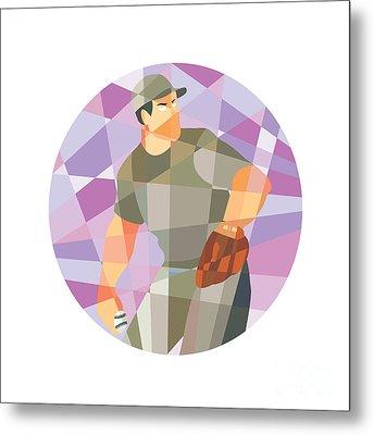 American Baseball Pitcher Throwing Ball Low Polygon Metal Print by Aloysius Patrimonio
