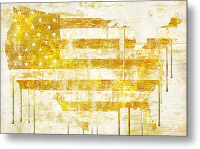 American Flag Map Metal Print by Mindy Sommers