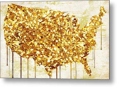 Glitter Gold American Map Metal Print by Mindy Sommers