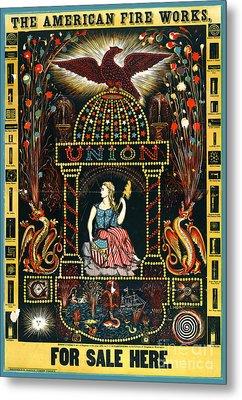 American Fireworks Ad 1872 Metal Print by Padre Art