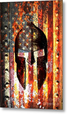 American Flag And Spartan Helmet On Rusted Metal Door Metal Print by Fred Bertheas