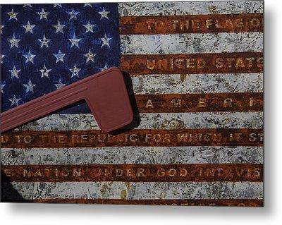 American Flag Mail Box Metal Print by Garry Gay