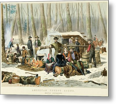 American Forest Scene Maple Sugaring Metal Print by Currier and Ives