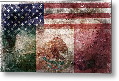 American Mexican Tattered Flag  Metal Print by Az Jackson