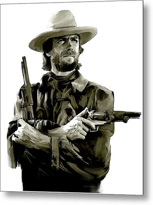 American Outlaw V Clint Eastwood Metal Print by Iconic Images Art Gallery David Pucciarelli