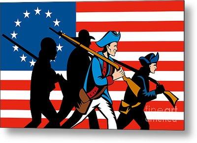 American Revolutionary Soldier Marching Metal Print by Aloysius Patrimonio