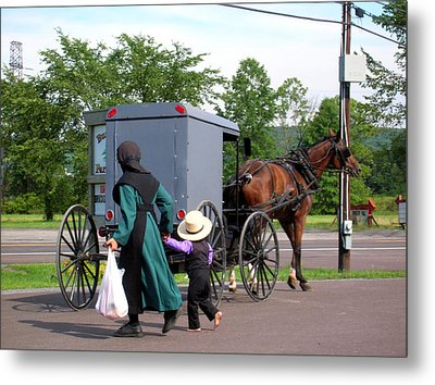 Amish Mother And Son Metal Print by George Jones